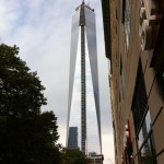 The new Freedom Tower on the grounds of the World Trade Center. Wonderful to see a tower rising there again.